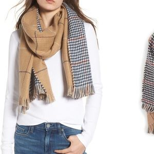 Reversible Houndstooth & Grid Scarf NWT